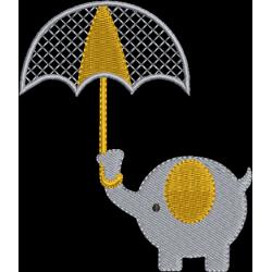 Elefante com guarda chuva