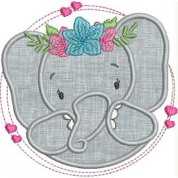 Elefante coração aplique