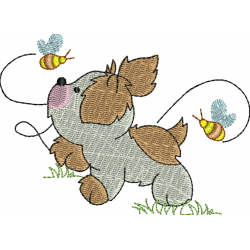 Cachorro com abelhas