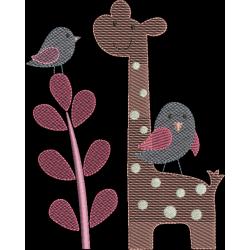 Girafa com pássaros
