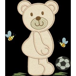 Urso aplique com bola 04